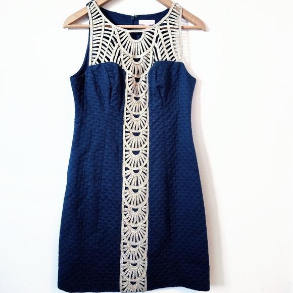 Lilly Pulitzer Dresses & Skirts - 🌿Lilly Pulitzer Navy Blue & Gold Tana Dress